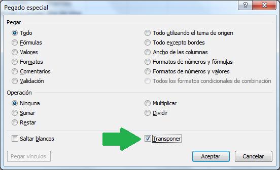 Pasar columnas a filas en Excel