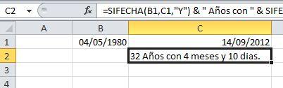 Calcular la edad exacta con Excel