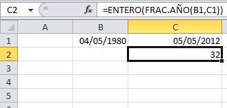 Calcular edad de una persona usando frac.año y entero
