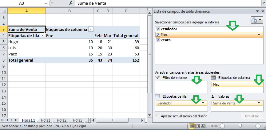 Ventana de configuración de tablas dinamicas