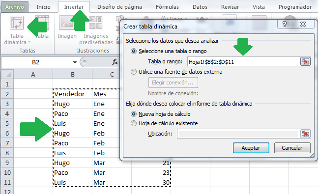 Hacer tabla dinámica - Pantalla de selección de celdas