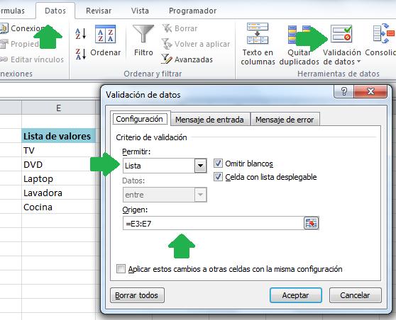 Crear una lista de valores (listbox o combobox)