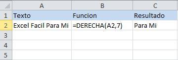 Función de texto de Excel: DERECHA, devuelve x cantidad de letras desde la derecha