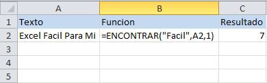 Función de texto de Excel: ENCONTRAR, busca una cadena de texto