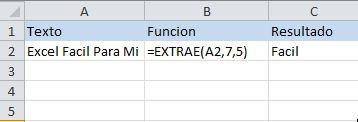 Función de texto de Excel: EXTRAE, extrae una cantidad de letras desde una posición indicada como parámetro