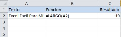 Función de texto de excel: LARGO, regresa la cantidad de letras en una texto