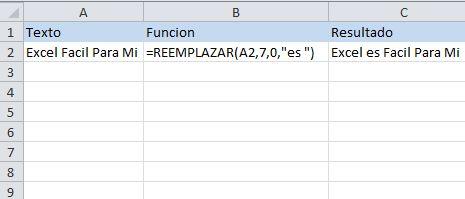Función de texto de excel: REEMPLAZAR, reemplaza un grupo de letras por otro.