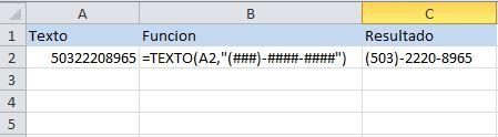 Función de texto de excel: TEXTO, da un formato a los numeros