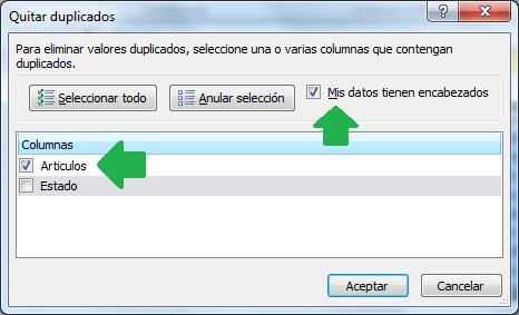 Opciones para remover, borrar o quitar valores duplicados en Excel