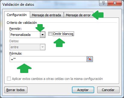 Opciones para proteger las formulas con validaciones de datos
