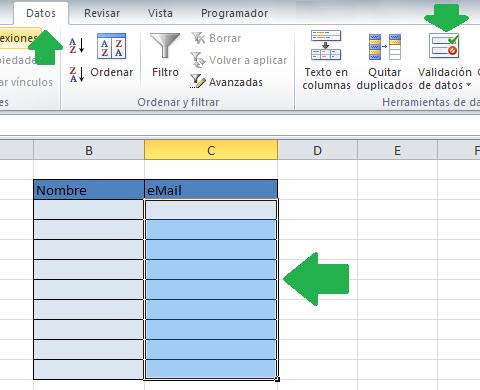 Seleccionar el rango para validar las entradas duplicadas