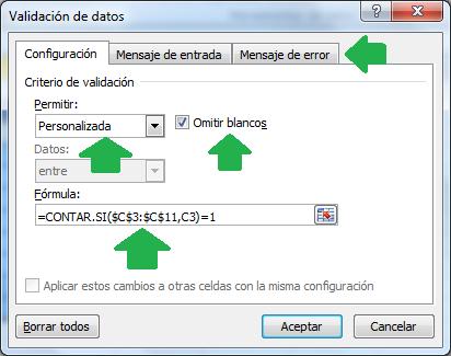 Como validar datos duplicados usando contar.si