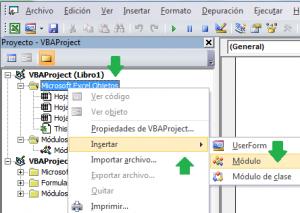 Insertar un modulo de codigo en VBA