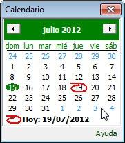 Calendario para seleccionar fecha
