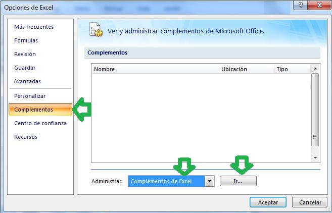 Complementos de Excel 2007