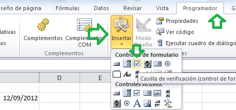 Pasos para Insertar casilla de verificacion o checkbox en Excel