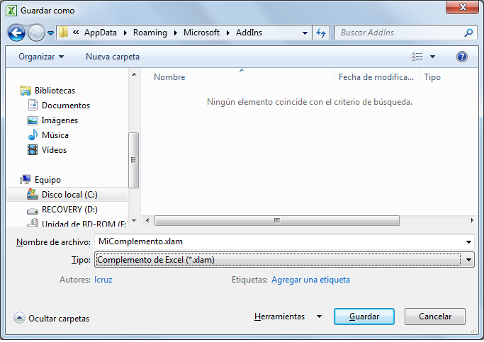 Guardar archivo para convertirlo en complemento de Excel