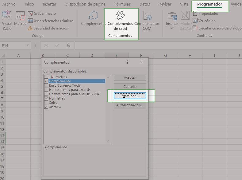 Agregar un complemento en Excel 2019