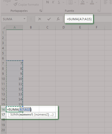 Autosuma vertical en Excel