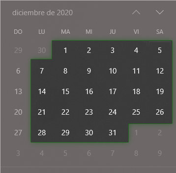 Calendario de días laborables