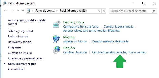 Cambiar configuración regional