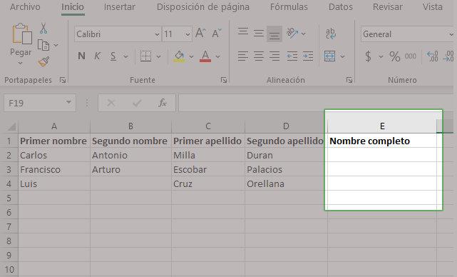 Ejemplos de unir textos en Excel