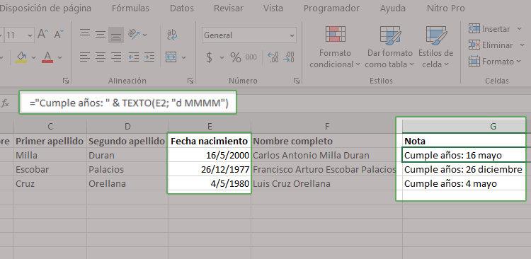 Como concatenar textos con formato en Excel