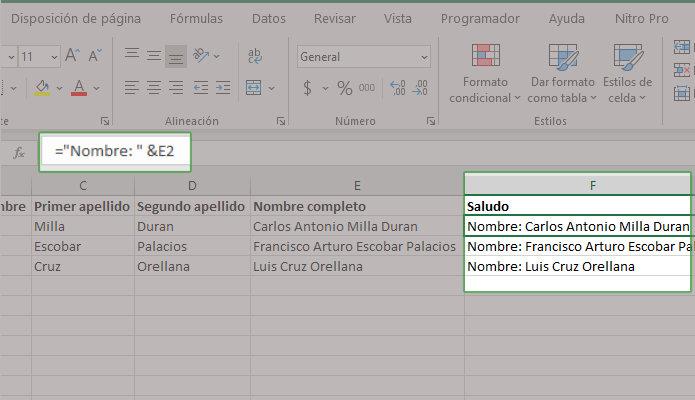 Método abreviado para concatenar en Excel