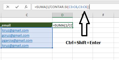 Contar valores unicos con una funcion array