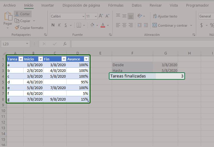 Contar valores usando la función CONTAR.SI.CONJUNTO de Excel