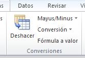 Vista de las conversiones que puedes realizar en Excel Plus