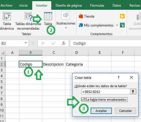 Insertar tabla en Excel - Lista desplegable