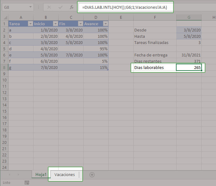 Calcular días hábiles hasta la fecha de entrega en Excel