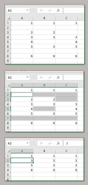 Ejemplo de errores al eliminar filas en blanco.
