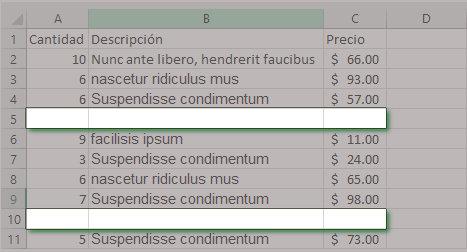Eliminar filas en blanco en Excel