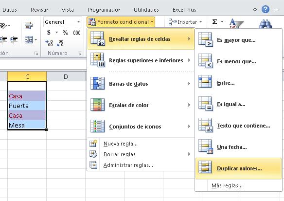 Encontrar valores duplicados en excel haciendo uso de formatos condicionales