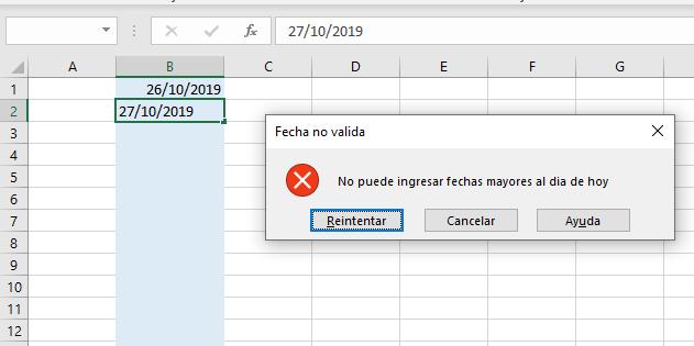 Mensaje de error - fecha no válida en Excel