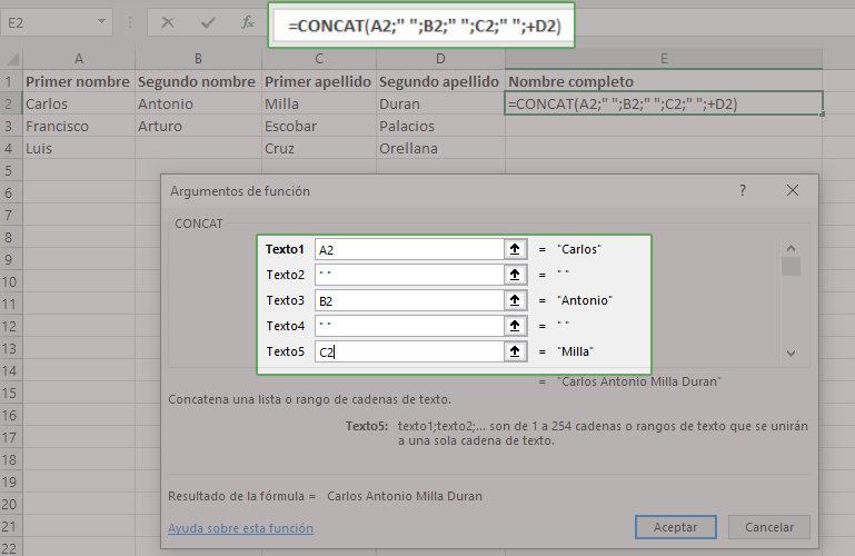 Ejemplo de funcion CONCAT en Excel