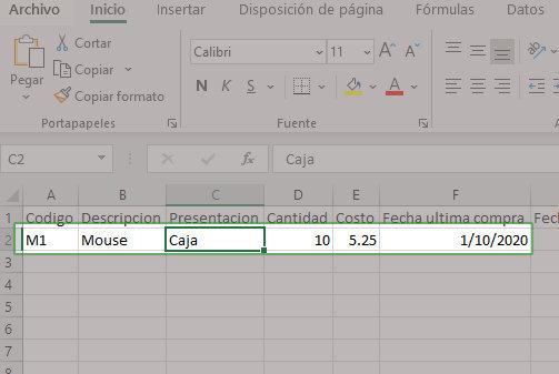 Datos para ingresar - formularios en Excel