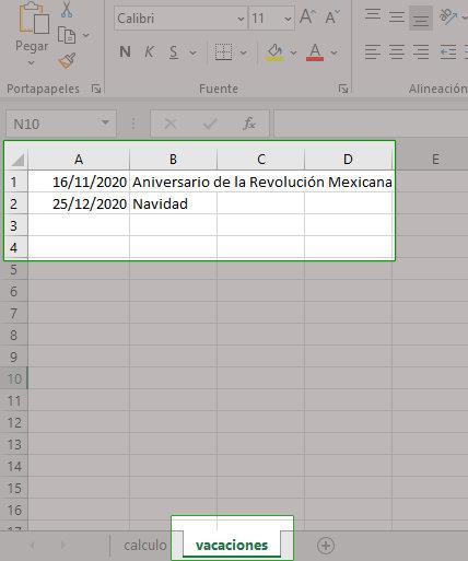 Agregar dias de asueto en hoja de Excel