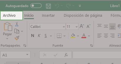 Menú archivo de Excel - Paso 1 para activar menú programador.
