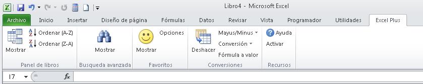Muestra de un menu personalizado en Excel