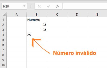 Número negativo no válido en Excel