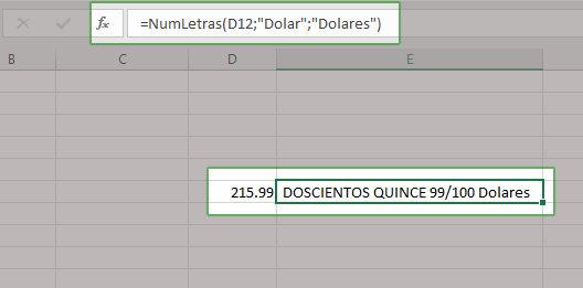 Ejemplo de cómo convertir números  a letras en Excel
