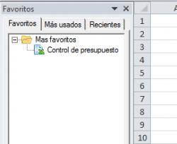 Vista de panel de favoritos en Excel Plus
