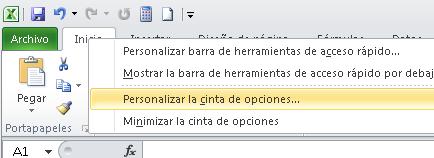Como personalizar la cinta de opciones en Excel