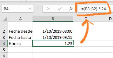 Restar fechas en horas y fracciones en Excel