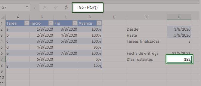 Como restar fechas en Excel