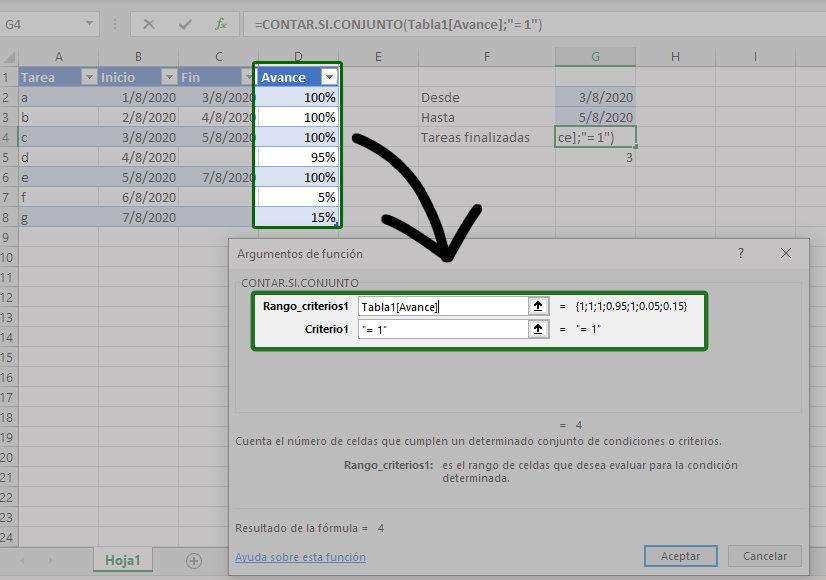 Ejemplo de la función CONTAR.SI.CONJUNTO usando solo un criterio