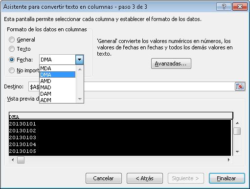 Usar la funcion de texto a columnas para convertir textos a fechas
